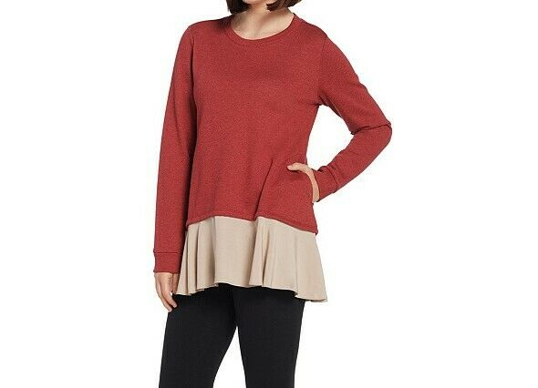 A310977 LOGO Lounge by Lori Goldstein Classic French Terry Top w Woven Hem-358