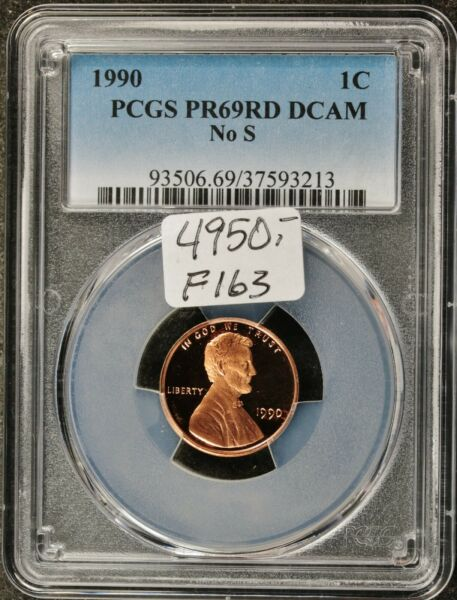 1990 Lincoln Head Cent.  No S.  In PCGS Holder.  PR69 Red DCAM.  F163