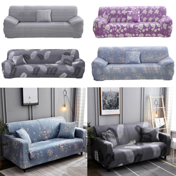 1 2 3 4 Seater Floral Stretch Sofa Covers Protector Couch Pillow Cover Slipcover $25.99