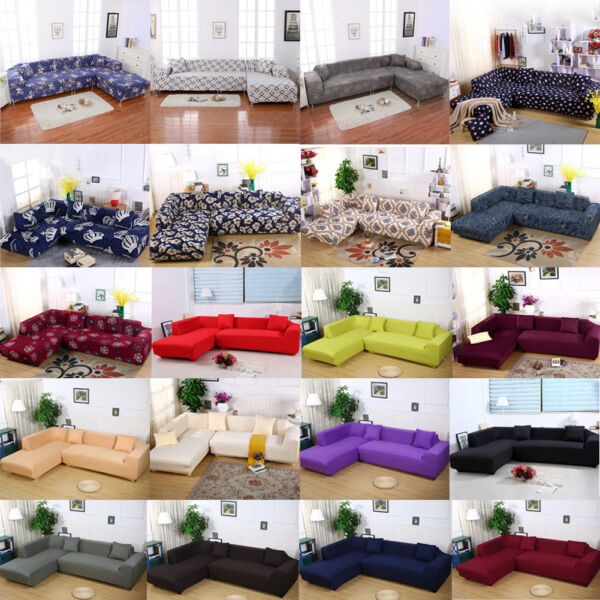 New Sofa Slipcover for Sectional L Shape Stretch Elastic Fabric Sofa Couch Cover $52.19