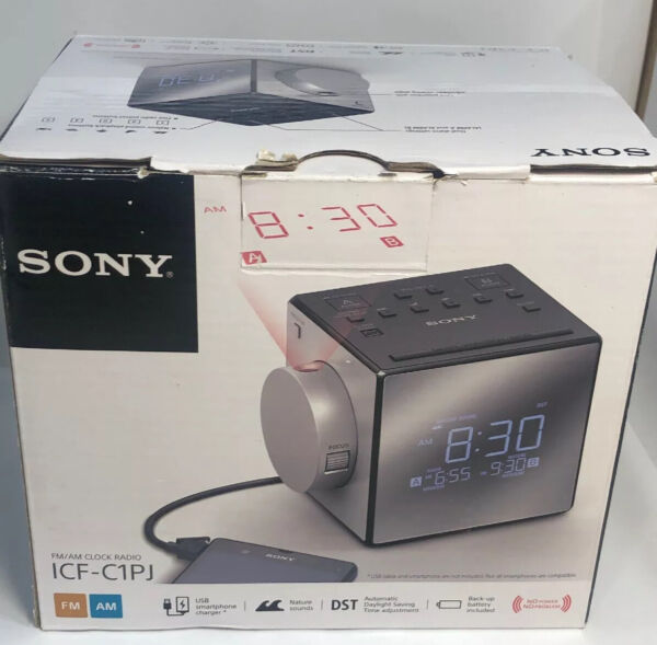 Sony ICF-C1PJ AMFM Dual Alarm Clock Radio Nature Sound Time Projection ICFC1PJ