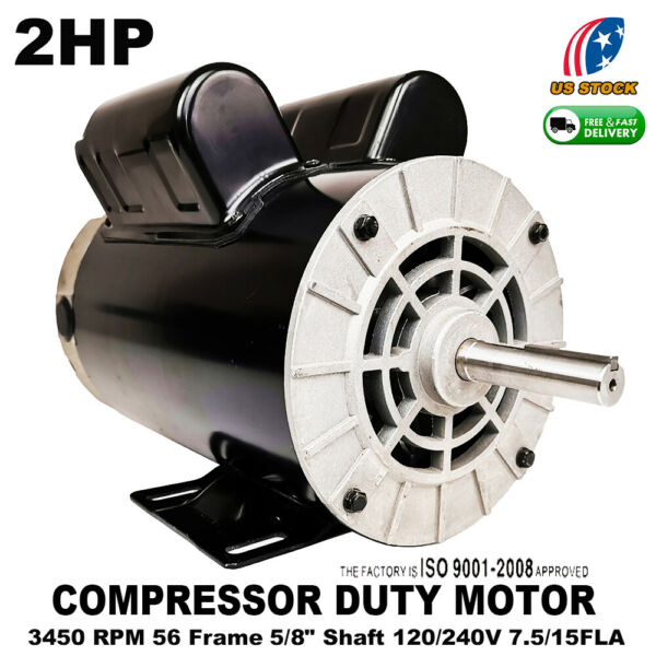 Pro 2HP Compressor Duty Electric Motor 3450 RPM 56 Frame 58