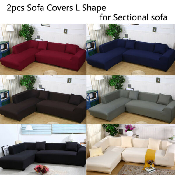 2Pcs 3 seater Sofa Covers Polyester Stretch Slipcovers For L Shape Sectional $49.81