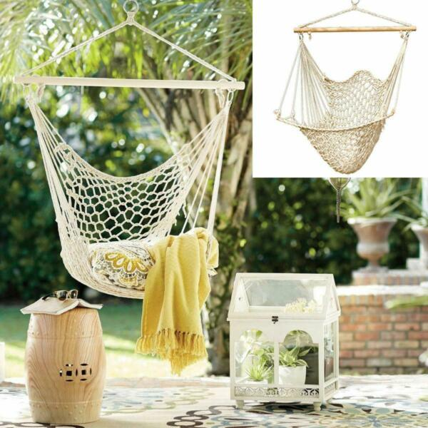 Cotton Rope Hammock Swing Camping Hanging Chair Seat Tree Wooden Outdoor Patio $24.95