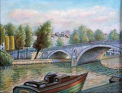 Bridge in Paris by Nahum Gilboa Oil and mixed media on canvas 28X35 cm Signed