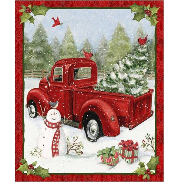 Fabric Panel Red Truck and Snow Man Christmas Fun 36