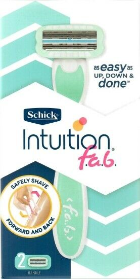 New Women's SCHICK INTUITION f.a.b. Limited Edition RAZOR Handle + (2) Refills
