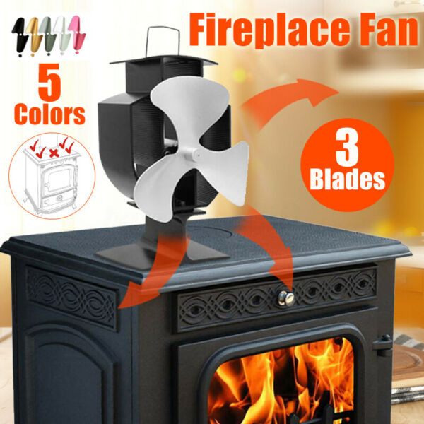 3 Blade Fireplace Fan Thermoelectric Frie Wood Heater Stove Aluminum Powered Fan