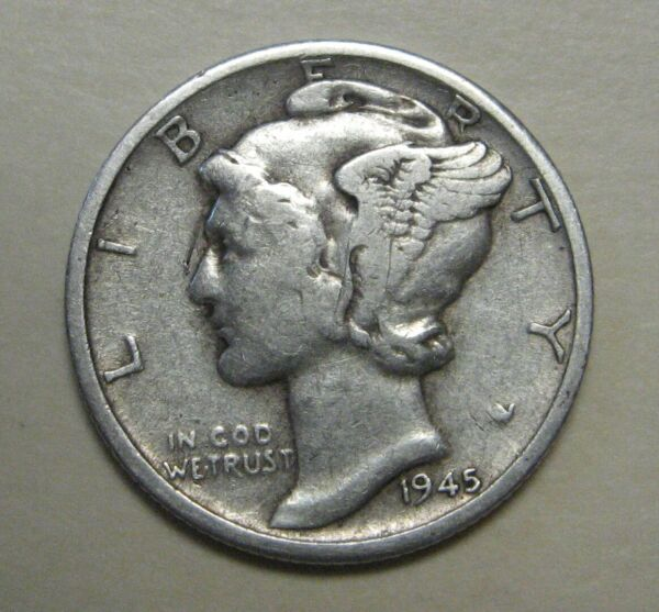 1945-S Mercury Head Silver Dime in Average Circulated Condition  DUTCH AUCTION