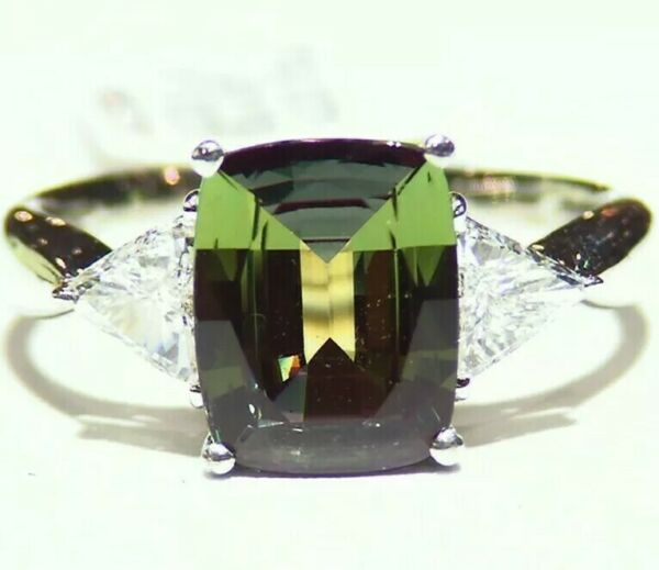 Vintage 3.67CT Platinum Natural Brazilian Alexandrite Diamond Engagement Ring