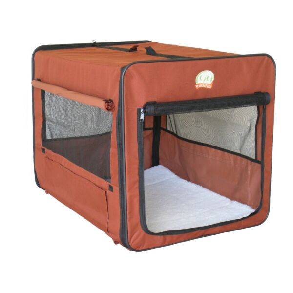 Soft Side Crate For Medium Dog Brown Portable Travel Carrier Kennel Puppy Cage  $64.85
