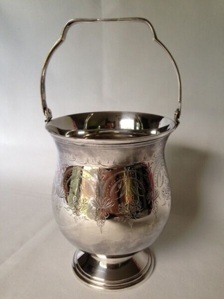 Silver Plated Mini Champagne Caddy Ice Bucket Pail Made in India