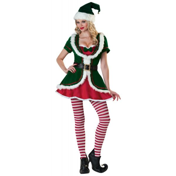 Elf Costume Adult Christmas Outfit Fancy Dress