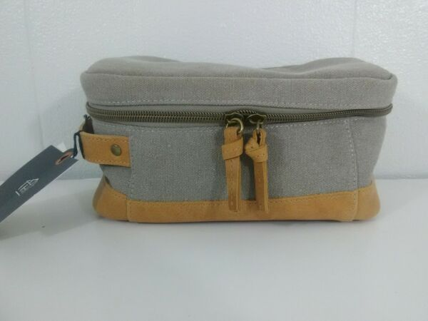 HEARTH & HAND WITH MAGNOLIA Tan Canvas & Leather Dopp Kit Cosmetic Bag