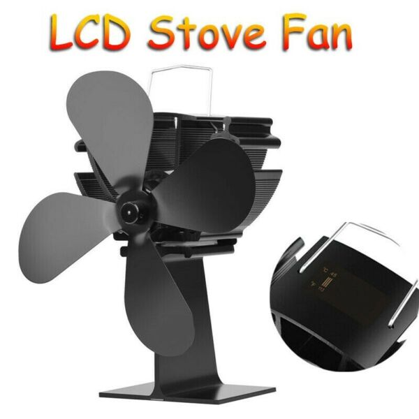 4 Blades Heat Powered Stove Fan Wood Log Burner Fireplace LCD Display
