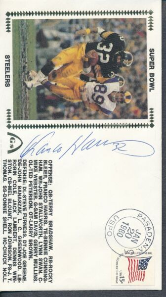 Franco Harris Signed First Day Cover Autograph Auto PSADNA AF92678