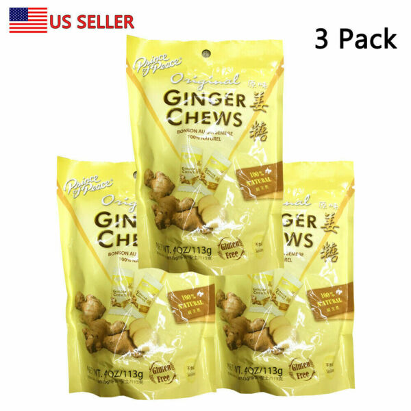 Prince Of Peace 100% Natural Ginger Candy Chews 4 oz BAG (3 Packs) US Seller $10.99