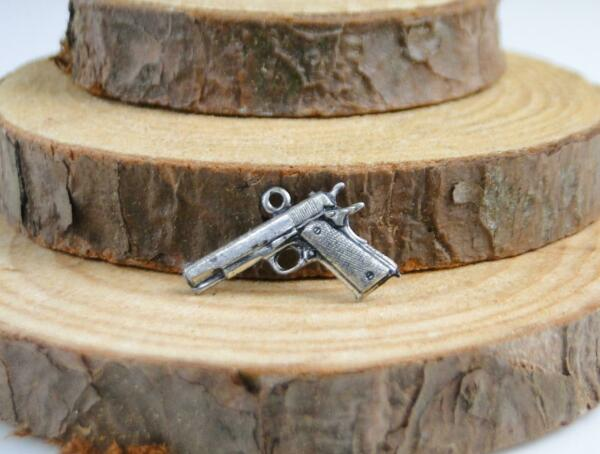 Vintage Sterling Gun Pistol Firearm Automatic Weapon Bracelet Charm $12.99