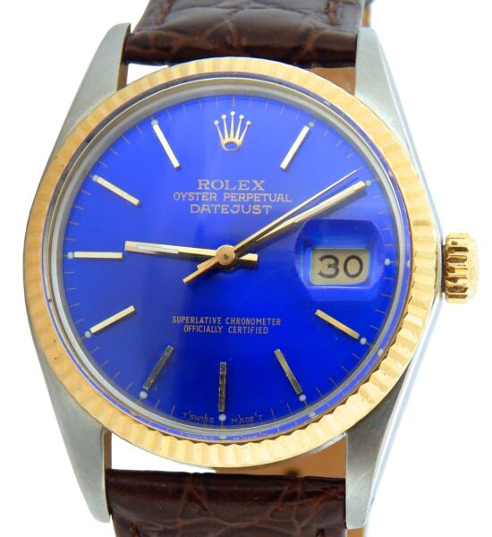 Rolex Datejust 16013 Mens 2Tone Stainless Steel & Yellow Gold Watch Blue Dial