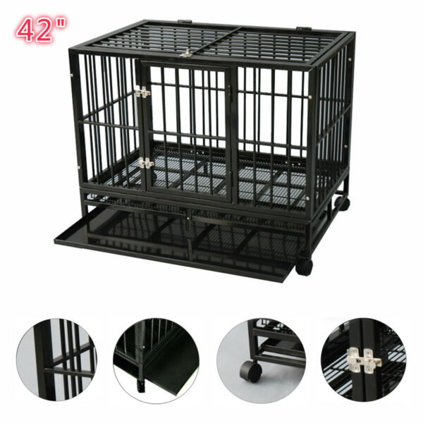 Dog Crate Large Kennel Cage Heavy Duty Metal Playpen WWheels & Tray 42