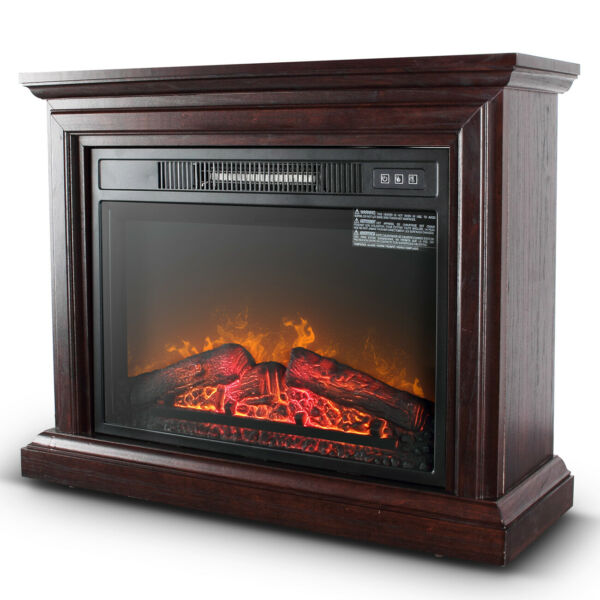 1400W Electric Firebox Fireplace Infrared Quartz Heater Flame Log Stove Remote