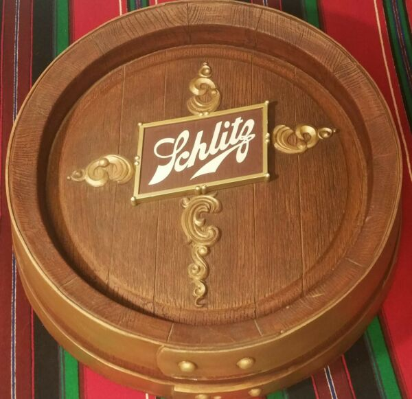 KEG SIGN vtg schlitz beer faux wood barrel store pub tavern wall display brewery