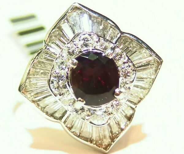 Vintage 3.18CT Platinum Natural Diamond Alexandrite Engagement Ring Certified
