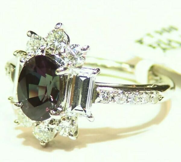 Vintage 3.13CT Platinum Natural Diamond Alexandrite Engagement Ring Certified