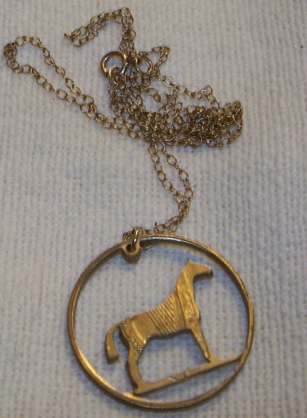 Vintage Horse Pendant Gold Filled Chain