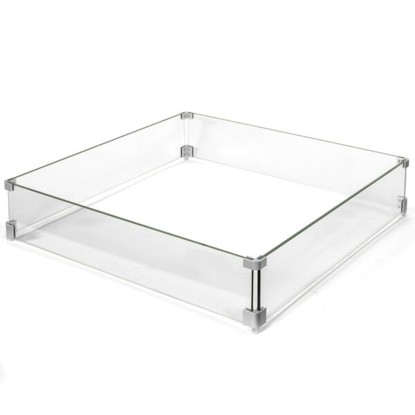 Outdoor Fire Pit 29.5quot; x 29.5quot; Glass Wind Screens Flame Square Guards Square Kit
