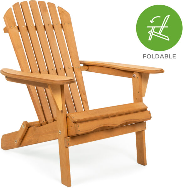 BCP Folding Wood Adirondack Chair Accent Furniture w/ Natural Finish - Brown