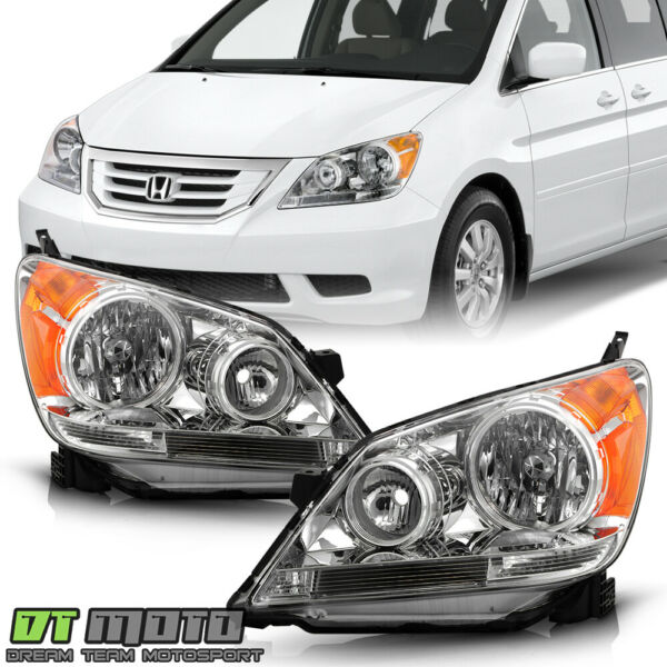 For 2008 2010 Honda Odyssey Headlights Chrome Headlamps Replacement LeftRight