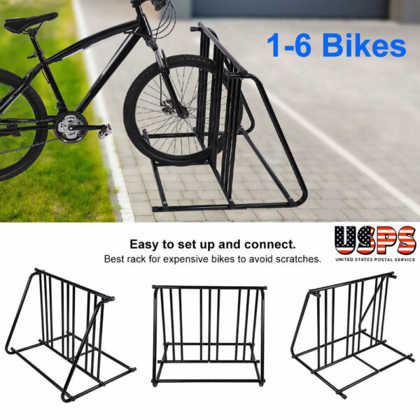 1 6 Bike Parking Rack Stand Bicycle Storage Floor Mount Iron Pipe Cycle Holder $58.57