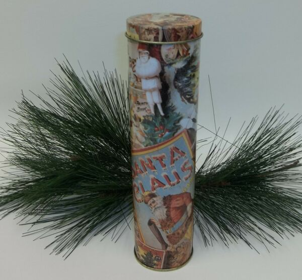 Christmas Tin Fireplace Match Holder with Antique Santa Claus Graphics