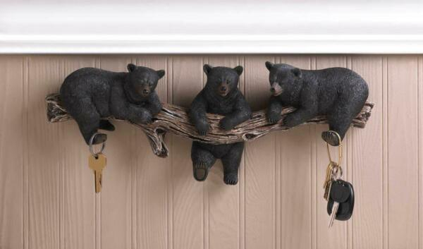 Black Bear Wall Key Holder Wall Plaque Animal Decor