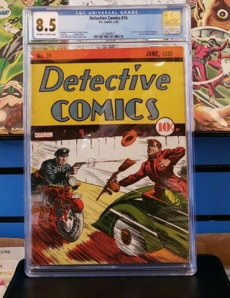 Detective Comics #16 CGC 8.5  2nd Highest in Census!  Action Comics #1 ad inside