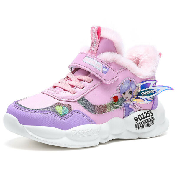 Kid's Girl's Winter Cotton Shoes Athletic Sneakers Fur-inside Snow Boots Sports