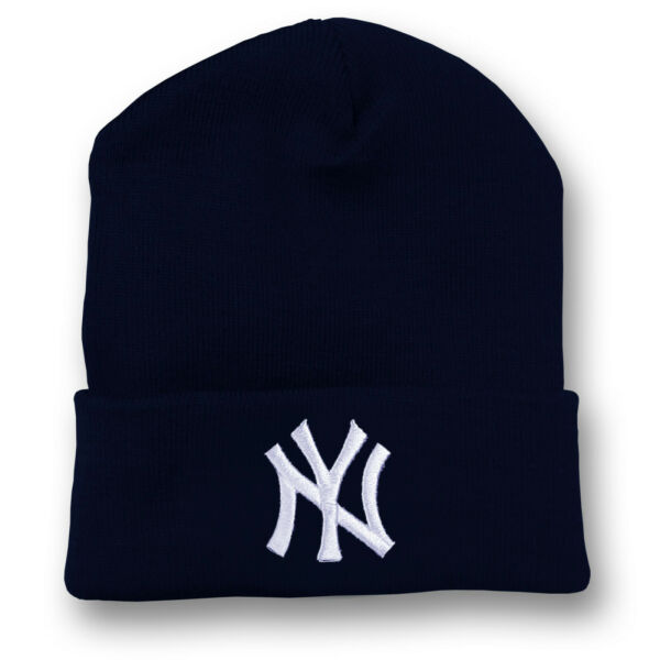 New York Yankees Long Beanie Skull Cap Hat Embroidered NY NYC Cuff Cuffed