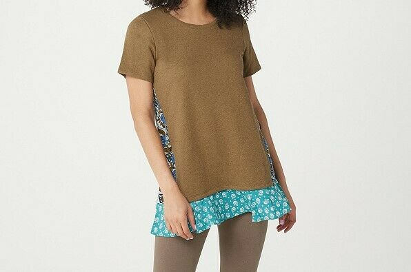 A354562 LOGO Lori Goldstein Classic French Terry Top with Woven Panels(24-26)