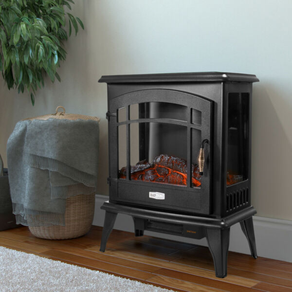 1500W Adjust Electric Fireplace Free Standing Heater Wood Fire Flame Stove Black