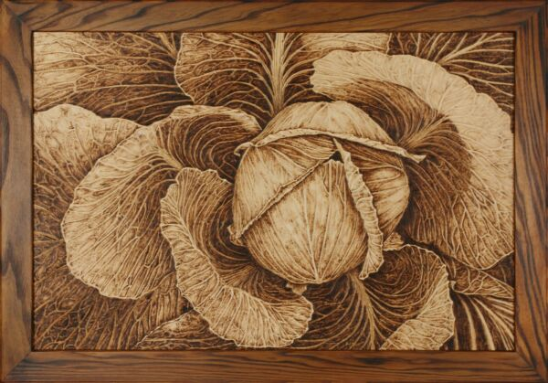 Pyrography Picture Cabbage Logs. Handmade Wood-Burning Art Wall Decor Nature Art