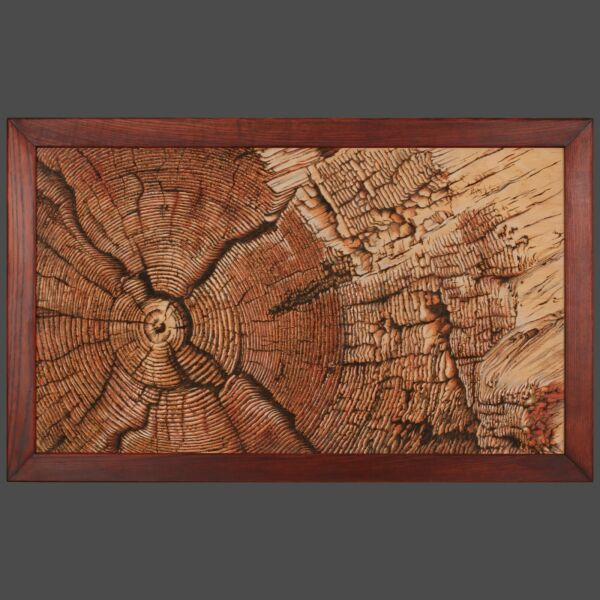 Textural Wood-burning picture Old Log Handmade Pyrography Art Wall Decor for Pub