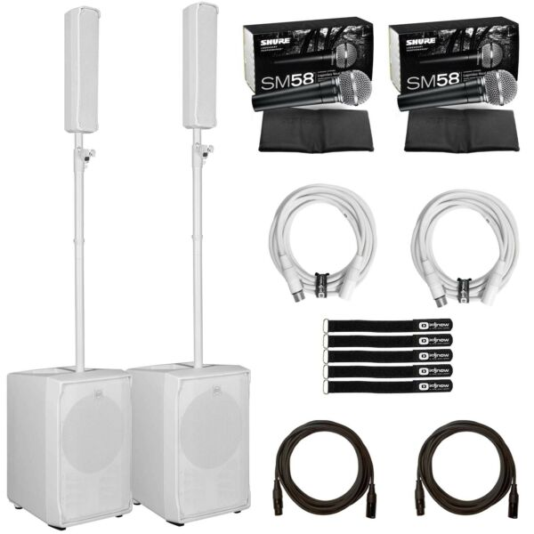 RCF Evox JMIX8 White Active 2-Way PA Array Speaker Systems Pair+SM58 Microphones