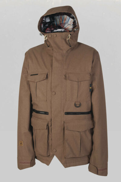 L1 Sham Premium Insulated Snowboard Jacket Large Brown with Powder Skirt New