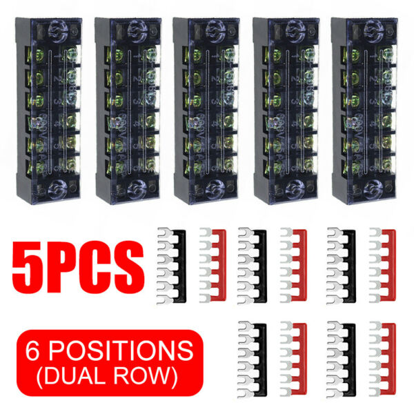Position Auto Marine Power Distribution Bus Bar Terminal Block 5 Set 15A 600V