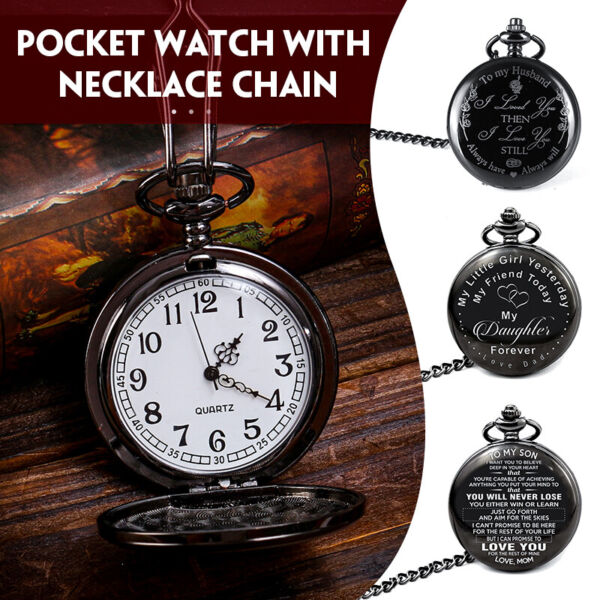 Fashion Pocket Quartz Watch Necklace For Daughter Husband Son Chain Gift Watch