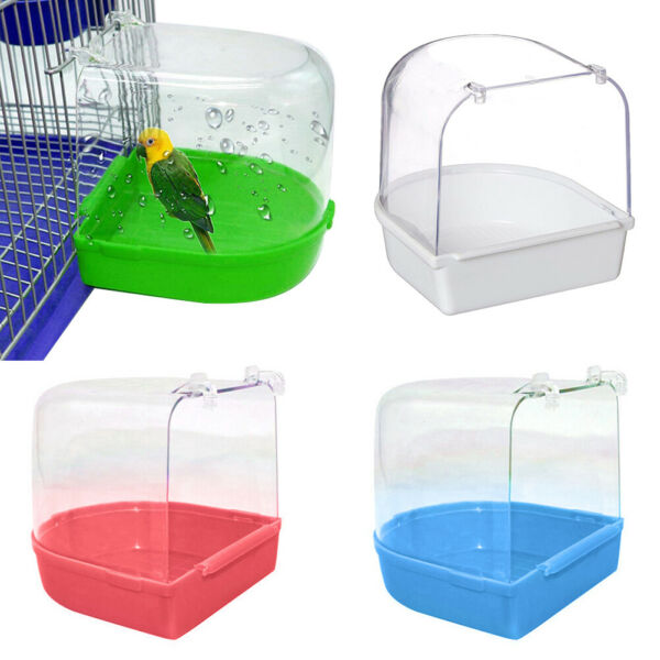 Bird Water Bath Tub For Pet Bird Cage Hanging Bowl Parrots Parakeet Birdbath