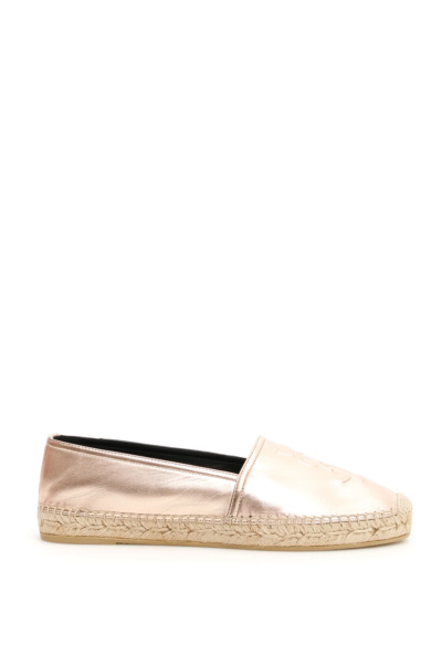 NEW Saint laurent leather logo espadrilles 458573 0XQ00 Metal Blush AUTHENTIC NW