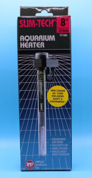 25W Aquarium Heater Slim Tech Fish Tank Adjustable Heater 8quot; 25 Watts Brand New $14.99