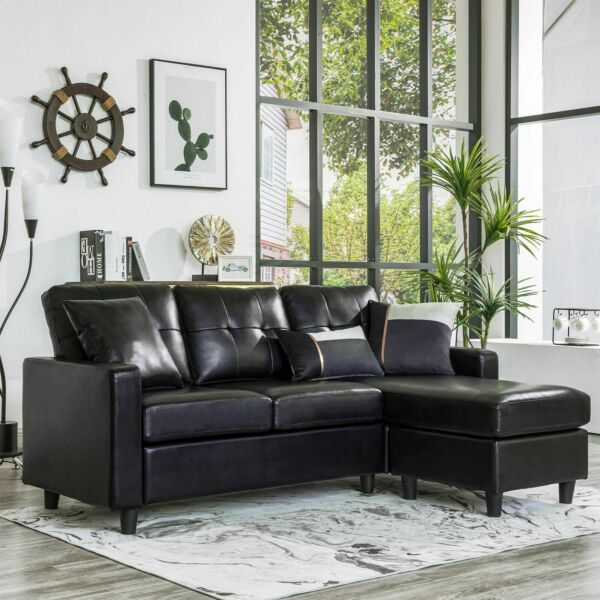 Black Faux Leather Sectional Sofa L-Shaped Couch WReversible Chaise Small Space